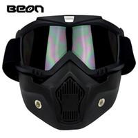 casco de cross country al por mayor-2016 Nuevos modelos auténticos BEON Retro todoterreno gafas casco de la motocicleta anti-vaho gafas de Cross Country máscara de color negro