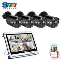 Wholesale 4ch Lcd Dvr - ANRAN Newest 4CH AHD 12 Inch LCD DVR Security Camera System 1080P Weatherproof Outdoor 3 Array IR CCTV Camera Home Video Surveillance Kit