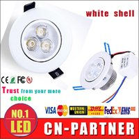 Wholesale Power Saving Switches - x100 White body led LED Recessed Downlight Dimmable 9W 12W Led indoor Lights High Power Ceiling Lights CRI>85 AC 110-240V With Power Supply