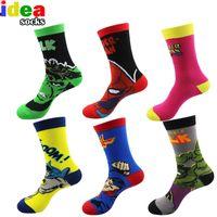 Wholesale crazy anime wholesale - Wholesale- European mens cartoon anime cotton jacquard socks crazy 3d men wedding dress socks novelty funny socks for women