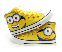 Wholesale Canvas Paint Autumn - Canvas Shoes 2016 Autumn Hand Painted Boys Girls Canvas Sport Shoes Despicable Me Minions Casual Kid Sneakers