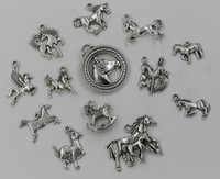 Wholesale Mixed Horse - Hot ! Tibetan Silver Mixed Horse Charm Pendant For Jewelry Making Craft DIY 13- style (002947 )