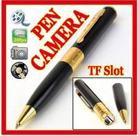 hd kara kutu toptan satış-Kalem Kamera ses Video Kaydedici Tükenmez Kalem mini kamera DVR 720 * 480 1280 * 960 HD mini kalem kamera gümüş / siyah perakende kutu içinde
