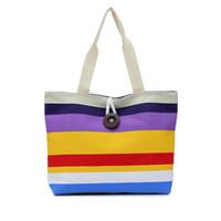 Wholesale British Clutch - Women wave canvas shopping bag Rainbow bag big button british plaid handbags hotsale ladies party clutches shoulder bags gift DHL Free