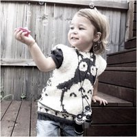 Wholesale Baby Knitting Vests - 2016 new baby kids clothes knitted boy girls vest outerwear & coats thick crochet cartoon Totora & cross children coat baby clothes