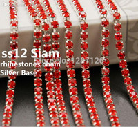 Wholesale Wholesale 3mm Rhinestones - Wholesale-ss12 3mm 10Yard Crystal Siam Densify Silver Base With Claw rhinestone Cup Chain Sew on Garment Accessories strass chain