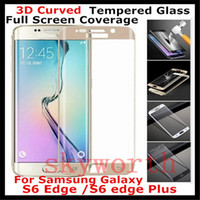 Wholesale Glass Transparency - Real Tempered Glass Screen Protector For Samsung Galaxy S6 Edge Plus Full Cover Transparency 0.2mm 3D 9H With retail package