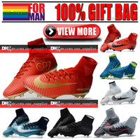 Wholesale Ankle Boots 12 - Cheap Original High Ankle Football Boots Mercurial Superfly CR7 V FG AG Neymar JR ACC Soccer Shoes Cristiano Ronaldo Soccer Cleats 6.5 to 12