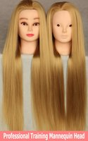 2015 neue Stil 100% Hoch Tempearture Synthetische Faser Haar Trainingskopf Kosmetologie Schaufensterpuppe Golden / Blond + Free Clamp
