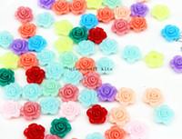 Wholesale Earring Flatback Beads - 700pcs Rose Flower Acrylic Beads 13mm Assorted Pastel Color Mix Plastic Kawaii earring studs Girl flatback Deco acrylic cabs