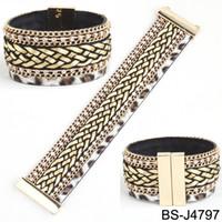 Wholesale Hipanema Magnet - Wholesale-Brazilian weaving rope wide bracelet magnet buckle bracelet Hipanema Bohemian bracelets boho love bangle free shipping HBS-J479x