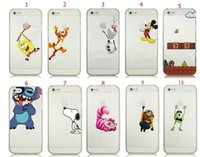 Minion mario Prix-Olaf Super Mario Mickey Minion point Snoopy Spiderman Tiger Dog Logo Clear Case transparent pour iPhone 5S 5C 4S couverture arrière