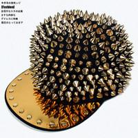 Wholesale Wholesale Spiky Caps - Wholesale-NEW ARRIVAL ! WOMEN's MEN's Hedgehog Punk Unisex Hat Gold Spikes Spiky Studded Rivet Cap baseball cap hat hip hop cap