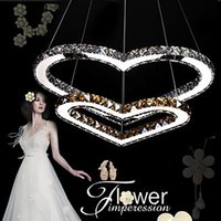 Wholesale Double Heart Cord - 2015 LED Transparent crystal Pendant Lighting Chandelier Light Transparent OR Amber K9 Crystal Double Heart-shaped Ceiling Lamps Lights