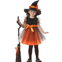 Wholesale Halloween Witch Cosplay - Magic Witch Kids Halloween Dress Hat American Genius Girls Performance Cosplay Costumes Party Dancing Props Christmas Gift SD632