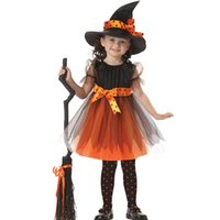 ingrosso costumi americani della ragazza-Magic Witch Kids Halloween Dress Hat American Genius Girls Performance Costumi Cosplay Party Dancing Puntelli Regalo natalizio SD632