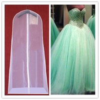 Wholesale Drag Wedding Dress - Ball Gown Quinceanera Dresses 2017 Dust Cover Transparent Soft Hanging Wedding Dress Dust Cover Fashion Trend Drag Train