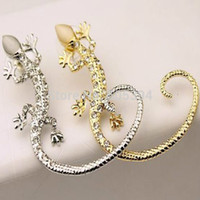 Wholesale Luxury Ear Cuffs - Wholesale-1pcs Fashion Rhinestone Ear cuff Earrings luxury Elegant rose gold exaggerated gecko lizards Stud Earrings