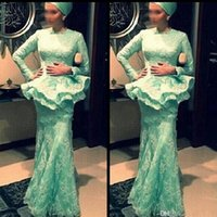 Wholesale Mint Long Sleeve Lace Dress - Crew Neck Long Sleeve Mint Green Muslim Prom Gowns Mermaid with Peplum Ruched Floor Length Lace Evening Dresses Simple Cheap Formal Dress