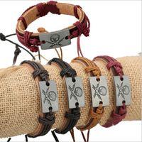 Wholesale bone style chain resale online - Promotion New Design Fashion Handmade Personalized Cowboy Punk Style Skull Bone Rope Leather Bracelet For Unisex Jewelry