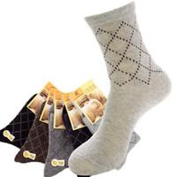 Wholesale Mens Socks For Winter - Wholesale-2016 Hot Sock Men Winter Thicken Wool Lozenge Autumn Wool Socks Mens Brand Socks For Men 5pairs