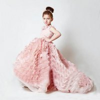 Wholesale Chiffon Pageant Dresses Girls - Charming Krikor-Jabotian Wedding Flower Girl Dresses Sweet Handmade Flowers Tulle Floor Length Custom Kids Ball Gowns Party Pageant Dress