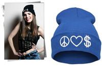 Wholesale Money Hats - 2017 1 piece lot PEACE LOVE MONEY skullies beanies Fashion Women Ladies Unisex Winter Knit Cap Hat Knitted Skull Beanies casual hats