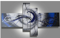 Wholesale Framed Office Wall Art - Framed Stretched Abstract Blue Grey oil painting on canvas Quality handmade Modern home office hotel wall art decor decoration free shipping