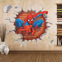 Wholesale Spiderman Stickers For Wall - 45*60 3D Cartoon spiderman wall stickers Removable PVC Home decals decorative Living room Wall Art Sticker Children bedrooms Wallpaper