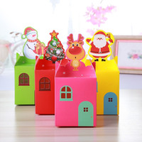 Wholesale apple tree print - Gift Wrapping Paper Fruit Apple Folding Packing Box Santa Claus Snowman Christmas Trees Elk Design Candy Case Cartoon 0 26hd B