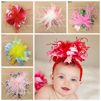 Wholesale Kids Fur Headbands - baby large christmas hair bows fur flowers hair accessories animal ribbon bow headbands for girls kids hair flower boutique elastic hairband