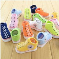 Wholesale Baby Fake Shoes - Factory Outlet! Canvas shoes with paragraph   fake shoes   baby Spring cotton baby   newborn socks hot styling standard cassette