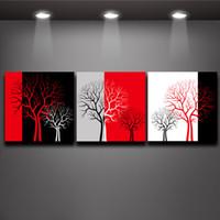 imagen del árbol de tres paneles al por mayor-Rojo Negro Blanco Tres Colores Árbol de Pintura Al Óleo Impresiones sobre Lienzo Arte Mural Decoración de La Pared de la Oficina de la Vida en el Hogar