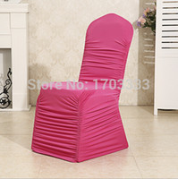 Wholesale Lycra Ruffled Chair Covers - Wholesale Popular Spandex Lycra Back Ruffled Chair Cover For Wedding&Party&Banquet Free shipping