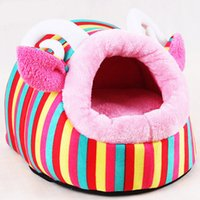 Wholesale Pet Beds For Puppies - Cute pig and sheep designs lovely style short plush pets dog bed house for cats hot sell puppy bedding set home