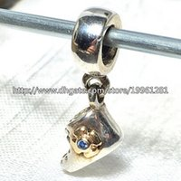 Wholesale Baby Jewelry Silver Bracelet - High-quality Baby Bootie Dangle Charm 925 Sterling Silver & 14K Real Gold Bead with Blue Cz Fit European Pandora Jewelry Bracelets Necklaces
