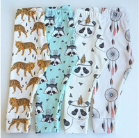 Wholesale Tiger Clothing For Girls - Boys Girls Harem Pants Panda Teepee Pants For Toddler Baby Girl Boy Harem Pants Reccoon Dreamcatcher Tiger Children Clothes free shipping