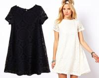 Wholesale Black Floral Tunic - plus size lace floral black dress Summer crew neck Women short sleeve Clothing Lace Casual black Dress Tunics Mini A line Dress 4xl