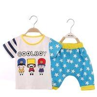 Wholesale Toddler Under Pants - 2 piece baby clothe cartoon 100% cotton boys girls Kids Toddler T-shirt Top+Pants Shorts Outfit Clothes Set 6-24month