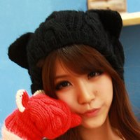 Wholesale red knit beret - Wholesale-Free Shipping Women Autumn Wool Crochet Knitted Beret Twist in Winter Korea Style Cute Beani Hat with Cat Ears Wholesale M-1012