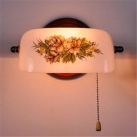 interruptor de pared vintage al por mayor-Vintage Garden Arts Flower Lámpara de pared Retro Wall Light Living Room Bars Tiffany Light Bedroom Habitación de estudio Glass Pull Switch Lámpara de pared