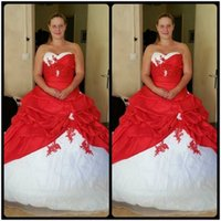 Wholesale Cheap Bride Robes - Sexy Ball Gown Satin Bride Bridal Cheap Red and White Wedding Dresses Real Photo vestidos de novia robe de mariage Wedding Gown Plus Size