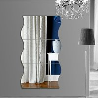 große abziehbilder spiegel großhandel-Große Wellenförmige Spiegel Wandaufkleber Diy Kristall Wandaufkleber Abnehmbare Vinyl Wandtattoos Wohnkultur 3D Spiegel Aufkleber Für Das Bad