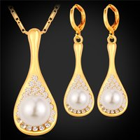Conjuntos de jóias de pérolas para jóias de moda feminina 18k Real Gold Plated Rhinestone Pearl Earrings Necklace Sets Wholesale