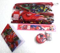 Wholesale Eraser Big - 10 Sets Big Hero 6 Stationery Set Pencil case Ruler Sharpener Eraser School Supplies Cartoon Girls Children Kid Favor Gift