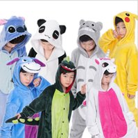 Wholesale Kids Kigurumi - kids Pajamas Kigurumi Unisex Cosplay Animal Costume Onesi sleepwear Flannel Animal funny animal Stitch panda Pajamas KKA3359
