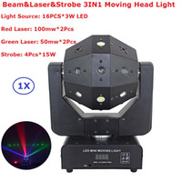 Wholesale Single Beam Laser Lights - Wholesale- Strobe & Beam & Laser 3IN1 LED Moving Head Lights 16X3W RGBW Single Color LED Moving Head Beam Lights With 16 18 DMX Channels