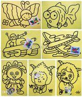 Wholesale Color Sand Art Painting Kits - 20sets lot 9*12cm Sand Painting with 4 Color Sand Kids DIY Toys mixed Design send Sand Art Kit Free Shipping