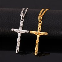 Wholesale Jesus Cross Real - New 18K Real Gold Plated Saint Cross Crucifix Jesus Necklace Pendant Religious Jewelry Gift for Women Men