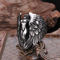 Wholesale Big Wings Rings - High quality Punk Rock Gothic Big wings angel cross men ring 316L Titanium steel Finger Rings HIPHOP Fashion Jewelry bijouterie